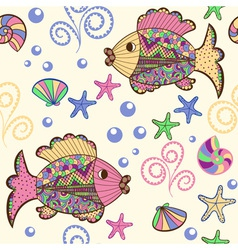Seamless pattern with cartoon sea creatures vector image