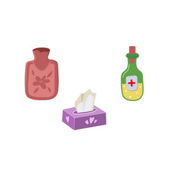 Set - hot water bottle napkins medicine vector