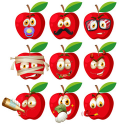 set of apple face vector image