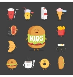 Set of cute cartoon fast food characters French vector