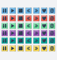 set of glossy colored buttons icons for web design vector image