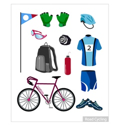 Set of Road Cycling Equipment on White Background vector