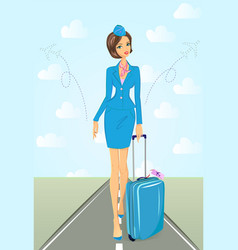 Smiling flight attendant in blue uniform with vector