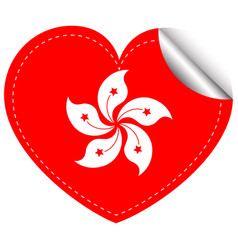 Sticker design for hongkong flag in heart shape vector