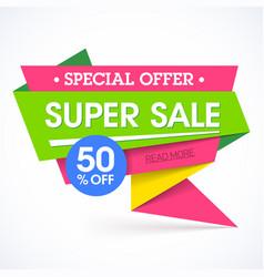 super sale special offer banner vector image