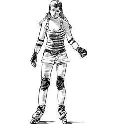 Teen girl rides on roller skates vector
