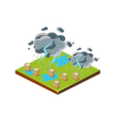 thunderstorm natural disaster icon vector image