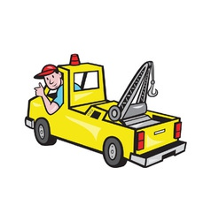 Tow Wrecker Truck Driver Thumbs Up vector image