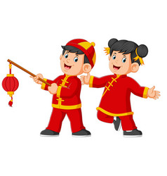 Two happy kids holding the chinese paper lantern vector