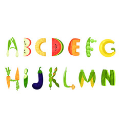 Vegetable and fruits alphabet letters vector