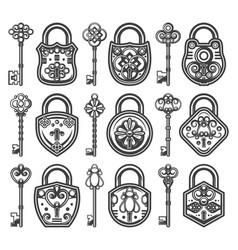 Vintage antique old locks set vector