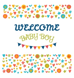 Welcome baby boy Baby shower greeting card Baby vector