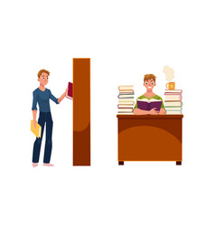 young man in library reading and picking a book vector image