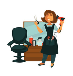 hairdresser woman in hair beauty salon with vector image vector image