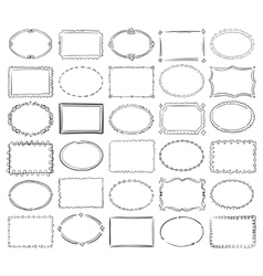 Hand drawn doodle round and square picture vector image