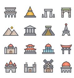 Landmark Icon Bold Stroke with Color vector image