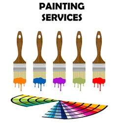 Painting tools and color samples vector image