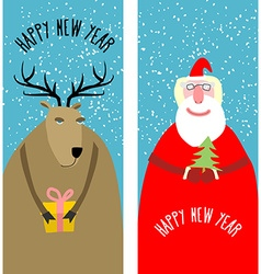 Set greeting Christmas cards Santa Claus with vector image
