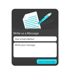 Dark contact us form with light document and blue vector image vector image