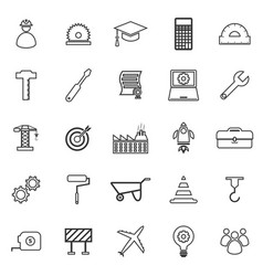 Engineering line icons on white background vector