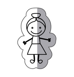 hand drawn sticker silhouette with girl vector image