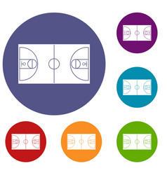 basketball field icons set vector image vector image