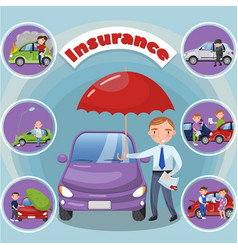 car and transportation insurance vector image vector image