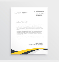 elegant yellow and gray waves letterhead design vector image vector image