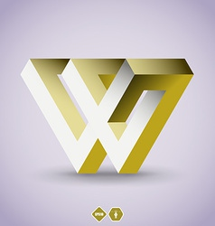 Imposible W letter vector image vector image
