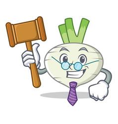 Judge turnip mascot cartoon style vector