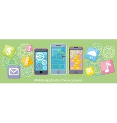 Mobile Application Development Flat Design vector image vector image