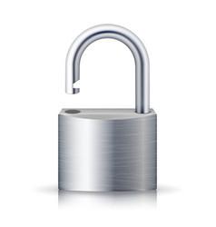 realistic unlocked padlock metal lock for vector image