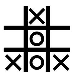 tic tac toe game icon black color flat style vector image