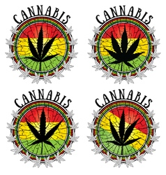 cannabis leaf design jamaican flag background vector image vector image