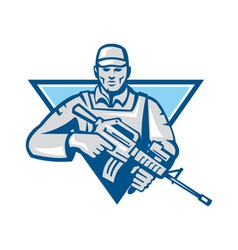 American Soldier Assault Rifle Retro vector