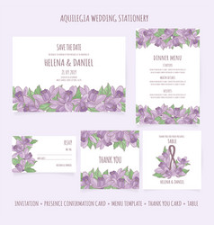 Aquilegia wedding stationery template illus vector