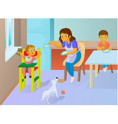 babysitter feeding baby in the kitchen vector image