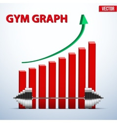 Background of barbell and diagram achieving vector
