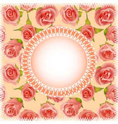 background with roses and lace vector image
