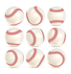 Baseball leather ball close-up set isolated on vector