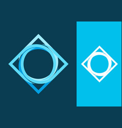 blue square shape with twist circle vector image