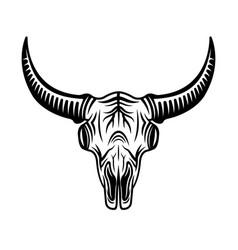 bull skull head monochrome object vector image