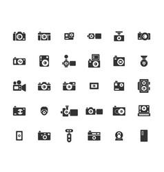 Camera solid icon set vector