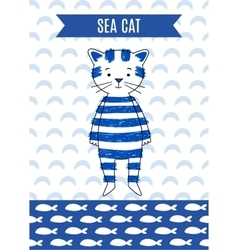 Card cute retro sea cat vector