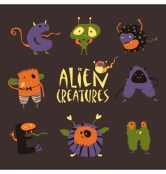 Cartoon halloween monsters vector image