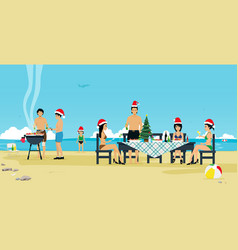 christmas beach vector image