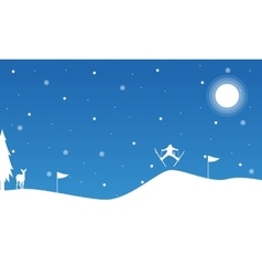 Christmas landscape people skiing on snow vector image