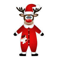 christmas reindeer christmas card funny reindeer vector image