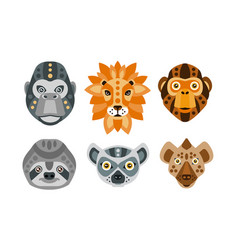 Collection animal heads with tribal ethnic vector