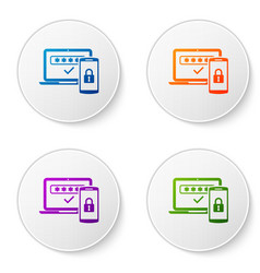 Color multi factor two steps authentication icon vector